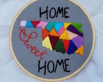 "Home Sweet Home OK-Hand Embroidered Hoop Art 4"""