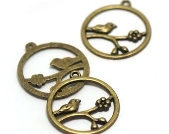 "4 pendant/charm ""circled bird"", 32 x 28 mm, bronze"