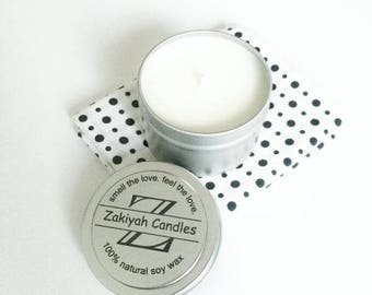 3.4oz Clean Cotton Soy Candle   Tin Can Scented Soy Candle