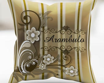 Personalized Brown Easter Celebration Swirls  Print Pillow Cover 18 x 18 Inches
