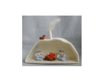 Kit couture miniature / La grotte d'hiver et ses deux lutins / Kit créatif DIY