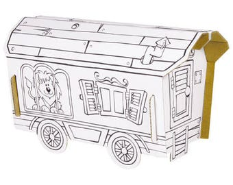 Trailer to build and color with 6 pens included / Kit creative coloring / DiY Kit for children