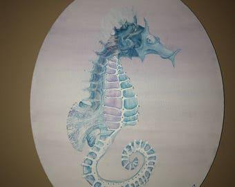 Seahorse blue  skeletal glow