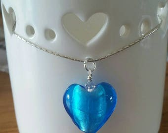 Sterling Silver Glass Heart Pendant