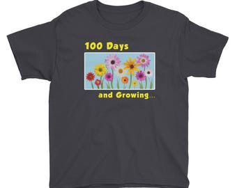 Youth 100 Days of School Pretty Flowers Shirt school students teachers school year school calendar great gift grammar principals tutors