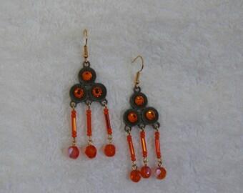 Earring beads and amber rhinestone