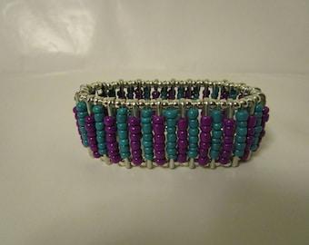 Turquoise, Purple & Silver Bracelet