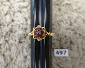 Vintage Ruby, Sapphire, or Emerald ring,  18K Gold Vermeil over Sterling Silver