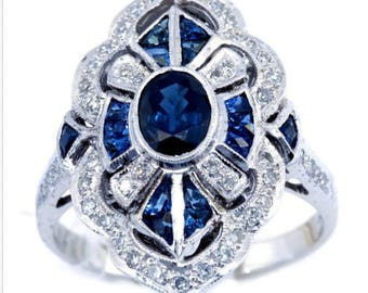 Vintage - 925 Sterling Silver Blue Sapphire - Make a Statement