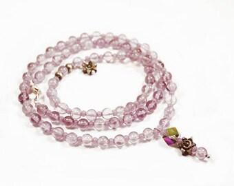 Amethyst necklace, purple, silver, healing stone, Crystal, pendant - necklace amethyst, purple, silver, healing gemstone, crystal-mala, yoga