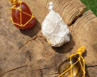 Embrace Your Energy Macrame Pendant Collection / Clear Quartz Pendant