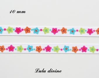 Small multicolored flower 10 mm white grosgrain Ribbon sold by 50 cm