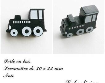 30 x 22 mm wood bead, Pearl flat Train / Locomotive: black
