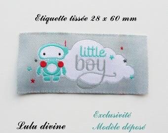 Woven label - little boy - 28 x 60 mm, grey cloud Robot