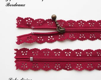 Lace zipper Burgundy of 25 cm not separable sold individually
