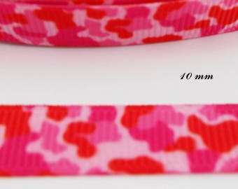 Grosgrain pink & red effect 10 mm Leopard Ribbon sold by 50 cm