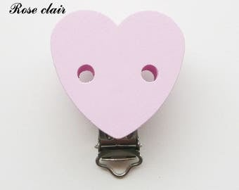 Clamp / Clip wooden heart shaped, pacifier, buckle, light pink