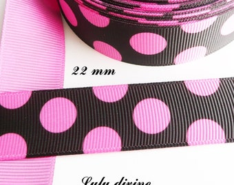 Ribbon grosgrain black with large pink dots fuchsia 22 mm sold by 50 cm