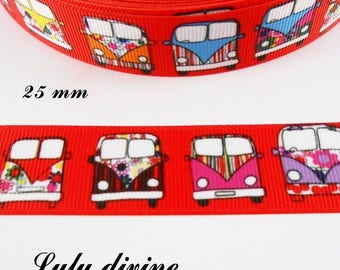 Ribbon grosgrain red truck Combi colored 25 mm sold by 50 cm