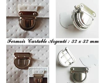Buckle clasp satchel / pouch / wallet Silver: 32 x 32 mm