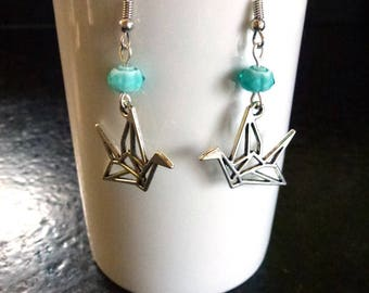 Origami cranes in white and blue flower glass beads and metal earrings mounted on silver hooks