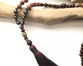 Brown Mala tassel necklace & Buddha / boho necklace Natural zen stone lass brown wood beads black tassel buddha