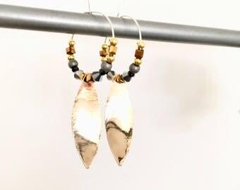 Elegant hoop & bead! These unusual earrings earrings fancy Bohemian style