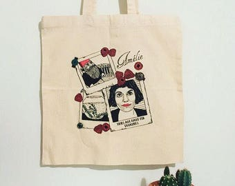 Amelie (Audrey Tautou) Cotton Handmade Tote Bag with buttons. Eco friendly vegan gift, shoulder book bag, shopping bag, canvas tote