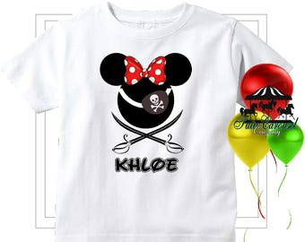 Minnie Mouse Pirate Cruise Disney Vacation Shirt, Personalized Shirt  (mc575)