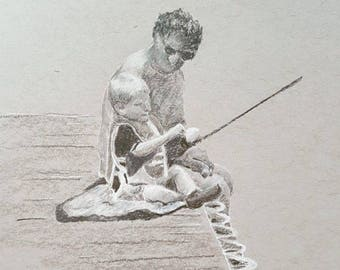Custom Black and White Hand Drawn Portrait