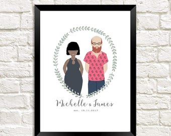 Couple Home Personalised Custom Illustrated Print Family Portrait Art Design