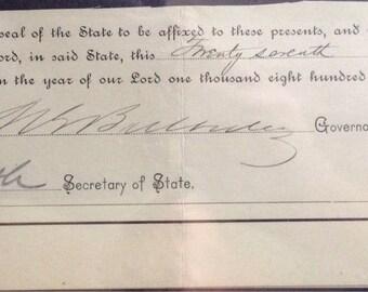 Morgan Buckley 1891 signature Governor of Connecticut