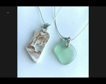 Genuine sea glass & pottery pendent