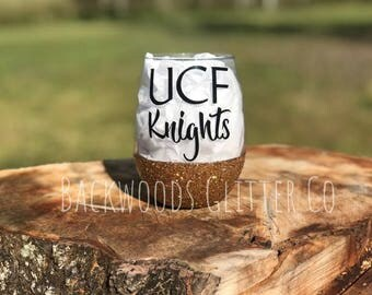 21 Oz UCF Knights Stemless Glitter Dipped Wine Glass, Antique Gold, Glitter Dipped, Stemless Wine Glass, UCF, Central Florida, Football