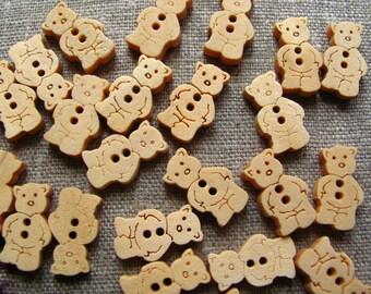 SET OF 6 TEDDY BEAR WOODEN BUTTONS