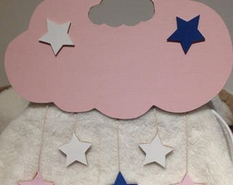 Applique wall girl cloud and stars theme