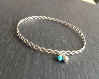 turquoise striped Bangle Bracelet