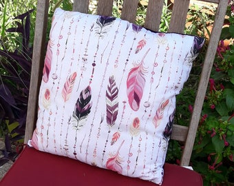 Handmade cushion 40 x 40cm cotton fabric with feathers to one side and velvet purple Morocco on the other side