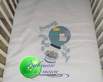 Hand embroidered crib/basket bear blanket