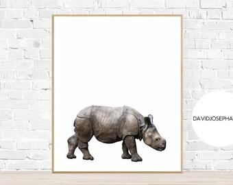 Nursery Baby Rhino Print, Rhino Wall Art, Nursery Decor, Animal Photography, Digital Download, Rhino Decor, Rhinoceros Print, Rhino Print