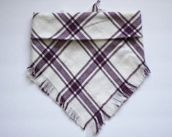 Violet Plaid Bandana/ Fringed or Regular