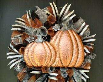 Fall Wreath, Autumn Wreath, Halloween Wreath, Pumpkin Wreath, Deco Mesh Wreath, Seasonal Wreath, Holiday Wreath