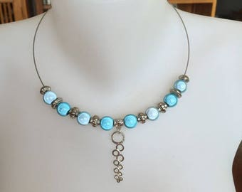 The Choker necklace silver pendant consisting of round, silver and magical turquoise