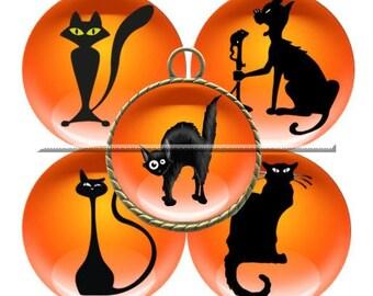 Envoi gratuit ! Images digitales CHALLOWEEN, halloween chat orange et noir