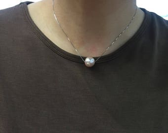 Simple Pearl Necklace w/Sliver chain