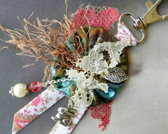 Bag charm - turquoise and pink keychain