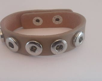 Light brown color for buttons 12mm mini snap leather bracelet