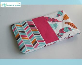 "checkbook wallet ""feathers and Chevron"""