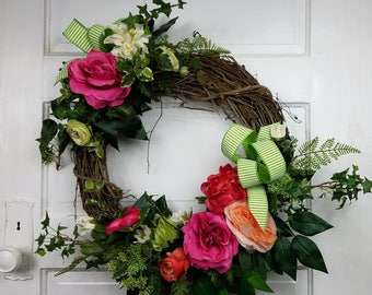 Spring Wreaths, Summer Wreaths, Rose Wreath, Floral Wreath for Front Door, Colorful Wreath, Garden Wreath, Mother's Day Wreath, Gift,