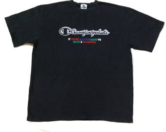 Vintage Champion T Shirt Spell Out  Embroidery Logo Tee Sportswear Vintage 90's